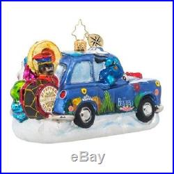 1019090 Christopher Radko Beatles Yellow Submarine Taxi Ornament Blue Meanies