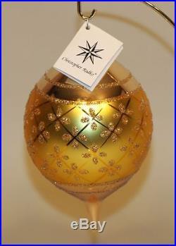 1987 Christopher Radko Glass Christmas Ornament Gold Faberge Teardrop 87-034-0