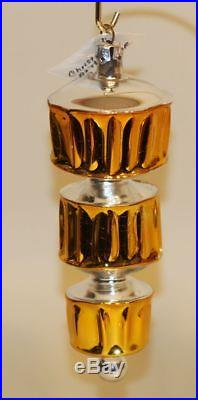 1987 Christopher Radko Glass Christmas Ornament Grecian Column Gold 87-052-0