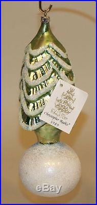1990 Christopher Radko Glass Christmas Ornament Snowball Tree Green 90-073-0