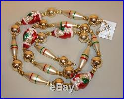 1992 Christopher Radko Glass Christmas Ornament Santa Claus Garland 92-220-0