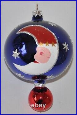 1994 Crescent Moon Santa Christopher Radko Ornament 94-398-0 RARE Ball Drop