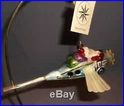 1995 CHRISTOPHER RADKO'THROUGH THE CLOUDS' SANTA FLYING PLANE ORNAMENT withTAG