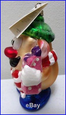 1998 Christopher Radko Mr. Potato HeadLumberjackChristmas Glass Ornament & Box