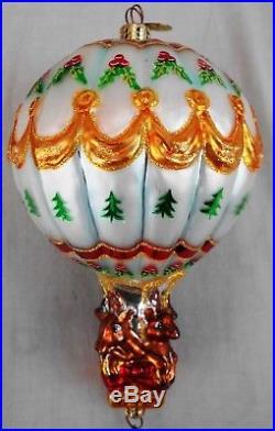 2001 Christopher Radko Hang On'Til Christmas Santa Hot Air Balloon Ornament MIB
