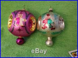 2 Vintage Christopher Radko 1991 & 1950 Triple Elf Reflector Christmas Ornaments