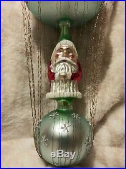93-405-0 Christopher Radko ICE STAR SANTA Wired Double Ball Christmas Ornament