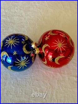 CHRISTOPHER RADKO CELESTIAL RED and CELESTIAL BLUE 1988 CHRISTMAS BALL EUC