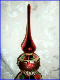 CHRISTOPHER RADKO POINSETTIA Indent CHRISTMAS TREE TOPPER ORNAMENT FINIAL 16