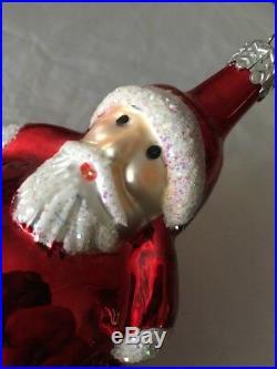 CHRISTOPHER RADKO Santa Ornament Christmas Vintage Rare Roly Poly Round