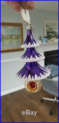 CHRISTOPHER RADKO TWIRLING TIERS CHRISTMAS ORNAMENT rare purple color