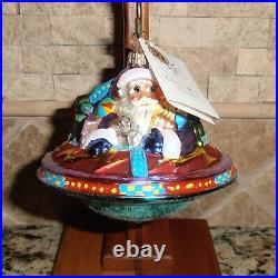CHRISTOPHER RADKO UFO ALIEN Christmas Ornament 2000 Santa Spaceship w Box