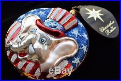Christopher RADKO Christmas Ornament G. O. Pachy Republican Elephant With Tag Rare