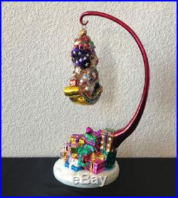 Christopher RADKO Giftful Bounty Carousel Pedestal Stand + Ornament 2 Piece EUC