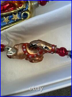 Christopher RADKO Glass Christmas GARLAND. NOW DASH AWAY ALL 98-119-0 RETIRED