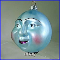 Christopher RADKO vintage 1989 BLUE MOON face Ornament 89-059 blown glass RARE