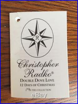 Christopher Radko 12 Days Of Christmas Ornament / 2 Two / Double Dove Love / Nwt