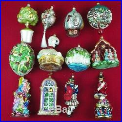 Christopher Radko 12 Days Of Christmas Ornaments Complete Set In Boxes