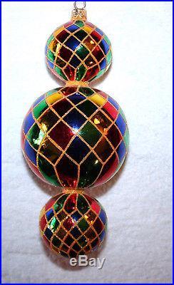 Christopher Radko 15th Anniversary TRIPLE HARLEQUIN Glass Christmas Ornament