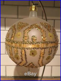 Christopher Radko 1989 89-044-1 Tiffany Ornament Retired Yellow Flowers Ball