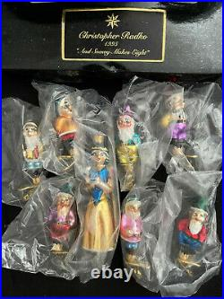 Christopher Radko 1995 And Snowy Makes Eight Snow White Dwarfs Disney Ornaments