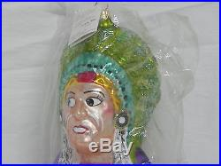 Christopher Radko 1995 Shifty Eyed Indian Chief Blown Glass Ornament