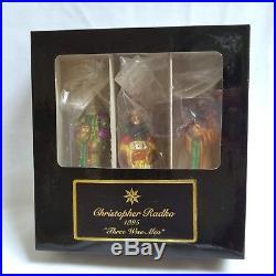Christopher Radko 1995 Three Wise Men Christmas Ornaments 1751 Nativity Boxed
