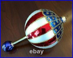 Christopher Radko 1996 Orn Stars And Stripes Aloft Patriotic Hot Air Balloon