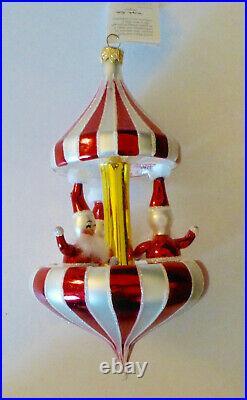 Christopher Radko 1996 PEPPERMINT TWIST Santa Carousel Christmas Ornament. ITALY