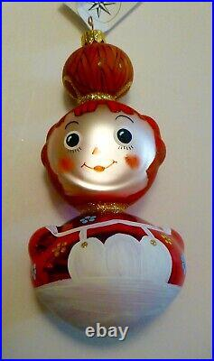 Christopher Radko 1996 RAGAMUFFINS 2 Christmas Ornaments. Raggedy Ann and Andy