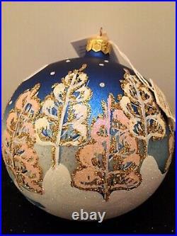 Christopher Radko 1997 LET IT SNOW Blown Glass Ball Christmas Ornament New