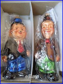 Christopher Radko 1997 Laurel & Hardy Standing Christmas Ornaments New in Box