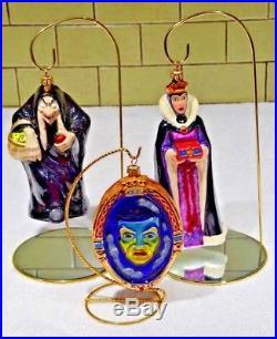 Christopher Radko 3 Piece Ornament, Snow White's Evil Queen, Hag Witch, Mirror