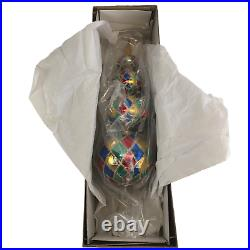 Christopher Radko 4 Ball Harlequin Finial 17 Christmas Tree Topper Very Rare