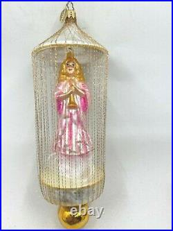 Christopher Radko ANGEL GLOW Caged Glass Ornament Wire Wrapped New with Tag Rare