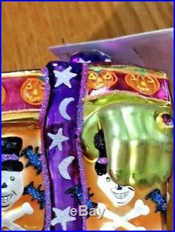Christopher Radko A GIFT OF GRAB Halloween Bats, Hand, Bow ornament 3 x 2.5