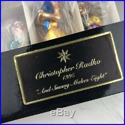 Christopher Radko And Snowy Makes Eight Glass Christmas Ornaments 1995 Mint EUC