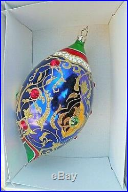 Christopher Radko Ball Drop Radko Christmas Ornament Jeweled Metal Tag Radko Box
