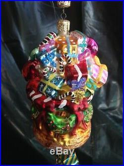 Christopher Radko Balloon Christmas Glass Ornament -santa -presents -17