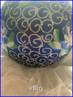 Christopher Radko Blown Glass Ornament Blue And Silver Ball With Flower 1990s