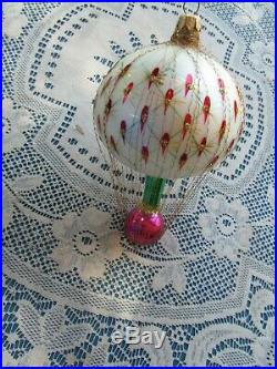 Christopher Radko Blown Glass Ornament French Regency Balloon Wired Red Green 7