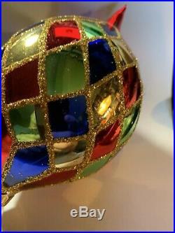 Christopher Radko Blown Glass Ornament Harlequin Teardrop Rare T1990s
