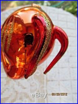 Christopher Radko Blown Glass Ornament Segfried Golden Red Fish Glitter