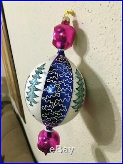 Christopher Radko Blue Lucy Ornament 8.5 # 00-1409-9 Triple Drop Indent Santa