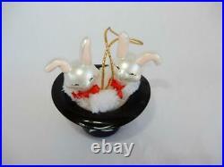 Christopher Radko Bossom Bunnies, 1996 RARE Vintage Glass Easter Ornament