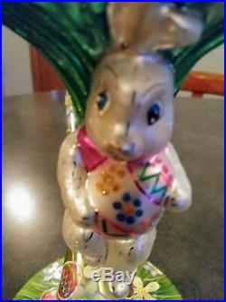 Christopher Radko Bunny Jump Ornament with Blown Glass Ornament Hanger Easter