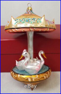 Christopher Radko CAROUSEL of DREAMS Blown Glass Ornament & Box Swans 1447/2500