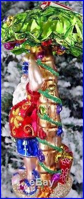 Christopher Radko CLAUS IN PARADISE Santa Palm Tree Beach Ornament #108650