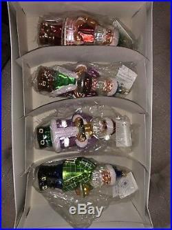 Christopher Radko COOKBOOK SANTA SET/4 Blown Glass Ornament Santa Ltd Ed