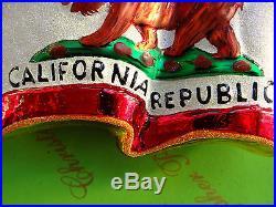 Christopher Radko California Republic Prototype Glass Ornament